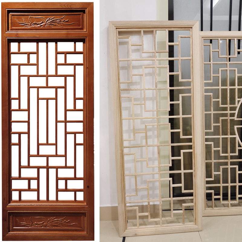 Dongyang wood carved antique doors and windows grid new Chinese solid wood elm pine window screen guardrail manufacturers custom