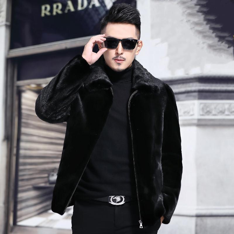 男士外套冬季水貂绒外套男仿貂皮保暖大衣
