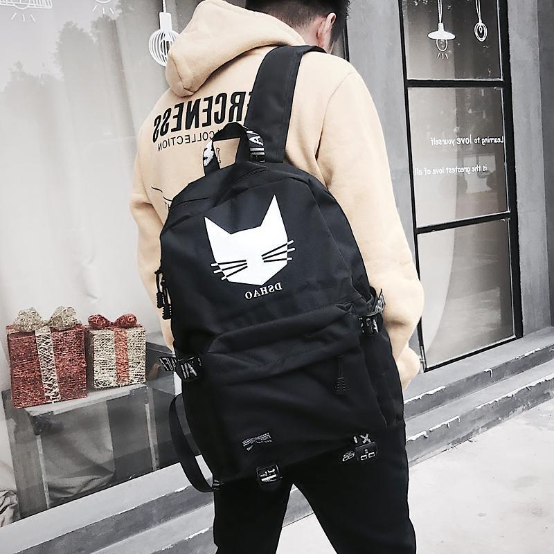 帕耐克丝韩版印花双肩包背包男士书包v背包初高中学生潮流帆布日韩