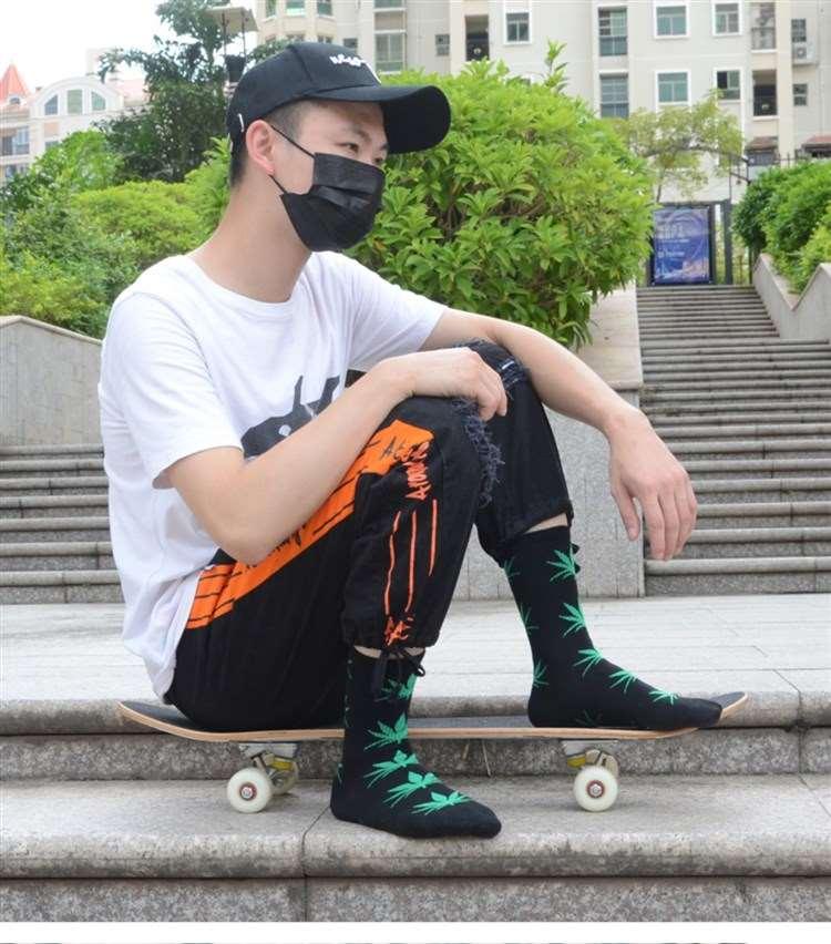 中國代購|中國批發-ibuy99|中筒袜运动袜嘻哈麻叶绿色枫叶袜子男女高筒长袜街头潮牌滑板情侣