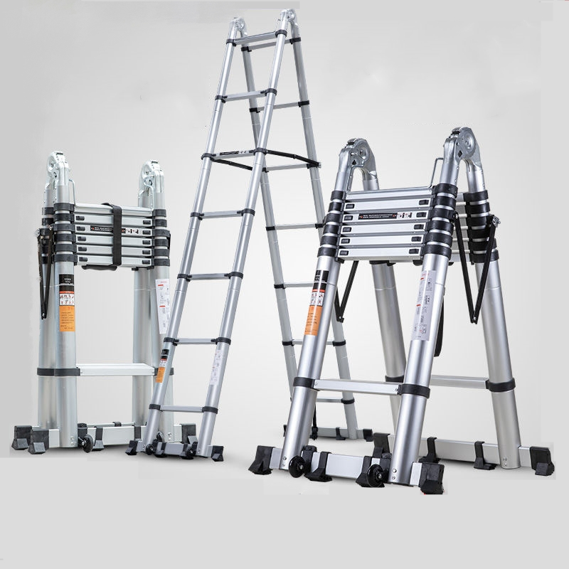 新款加厚铝合金升降伸缩梯人字折叠梯家用多功能工程楼梯竹节梯子