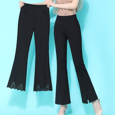 KVDI微喇裤子黑色九分裤显瘦阔腿裤蕾丝