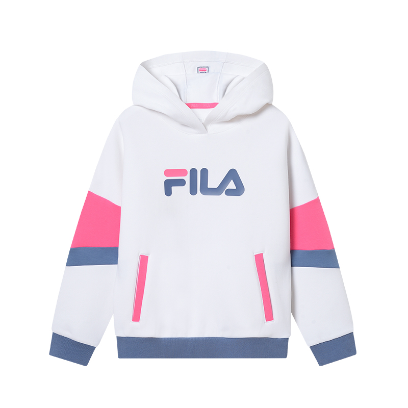 FILA斐乐童装2021新款女童连帽卫衣