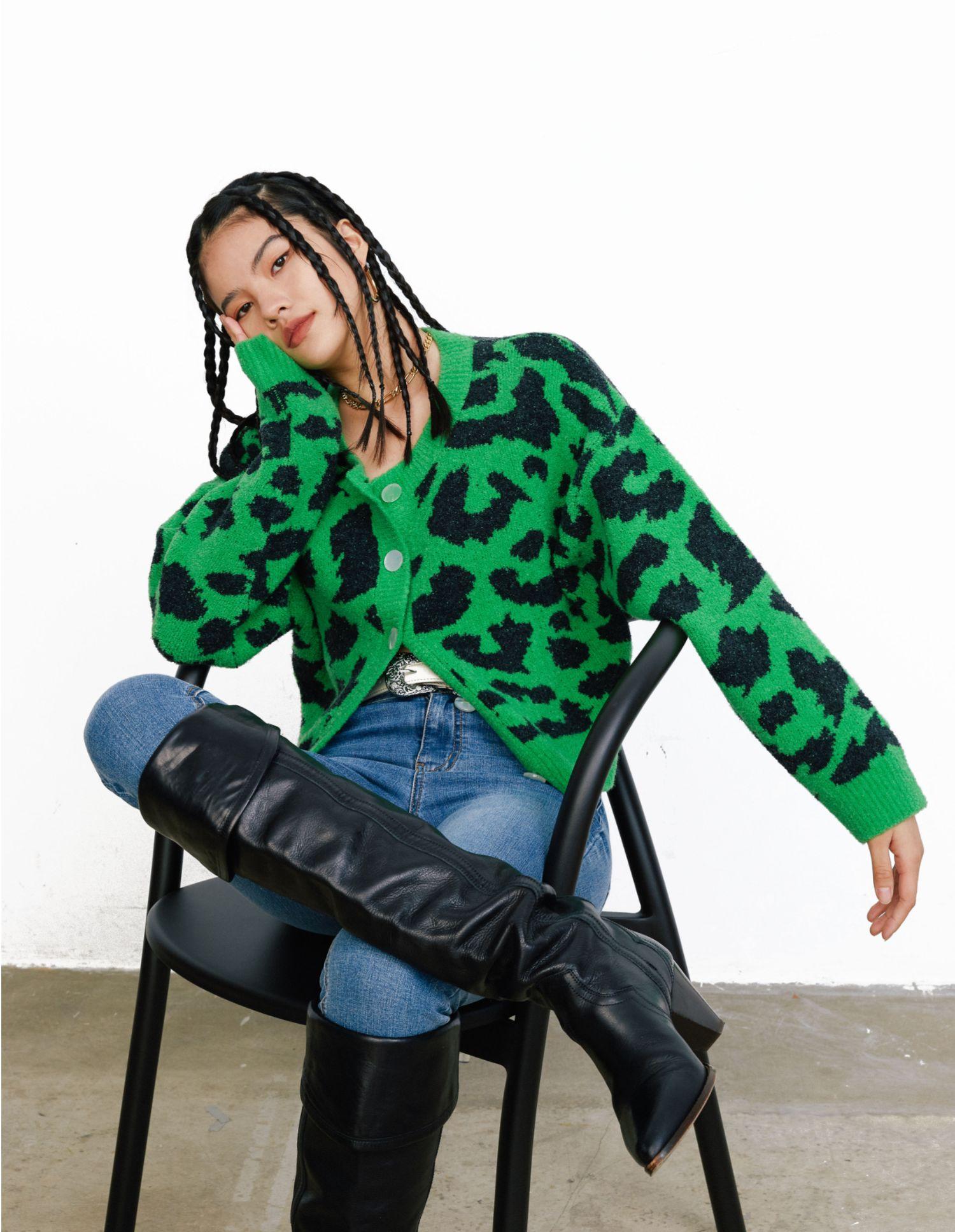 Tiptoe&Roll綠色豹紋MAE Sweater毛衣短開衫寬松復古法式小惠女裝鋪!!!
