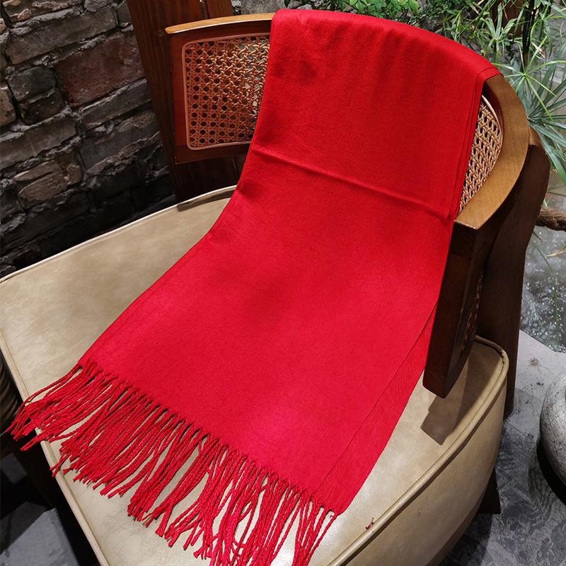 中国红开门红大红色围巾定制logo公司年会议活动围脖定做刺绣印字