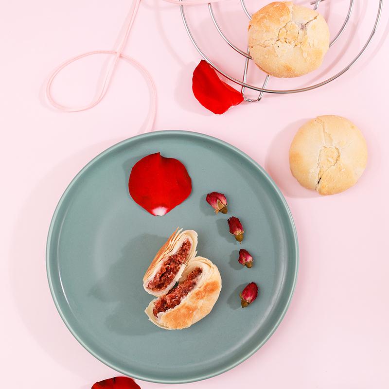宜食尚鲜花饼8枚装送礼送长辈平阴玫瑰鲜花饼400g 传统糕点心零食