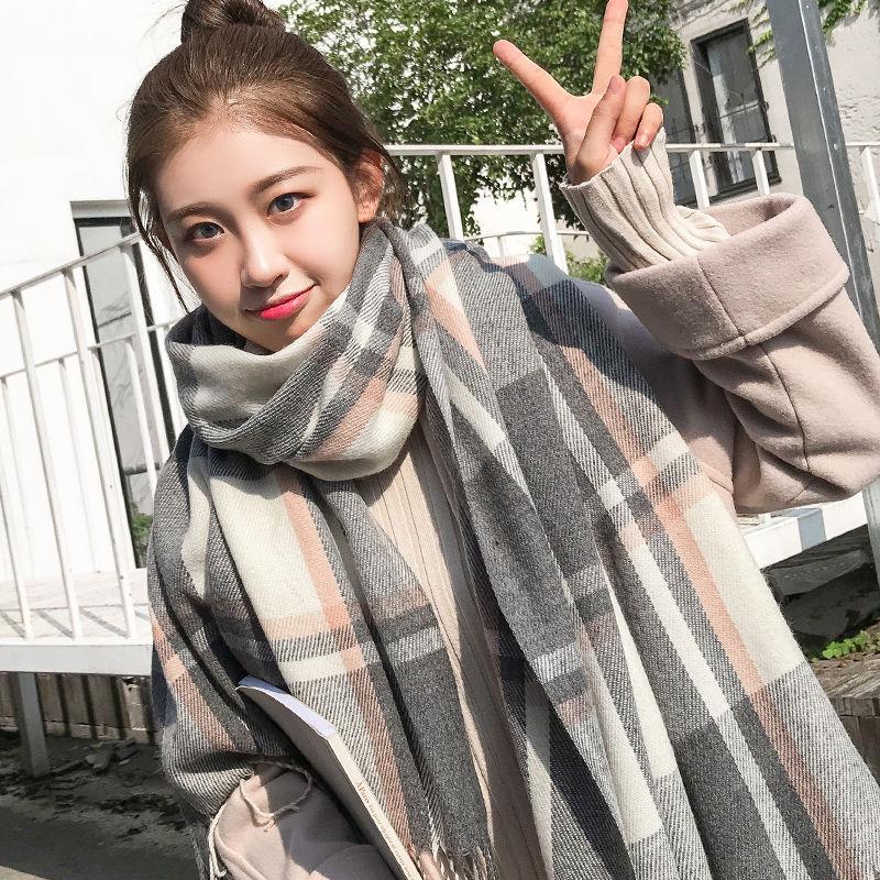 新款格子围巾女士秋冬季韩版可爱学生情侣披肩百搭保暖厚网红围脖