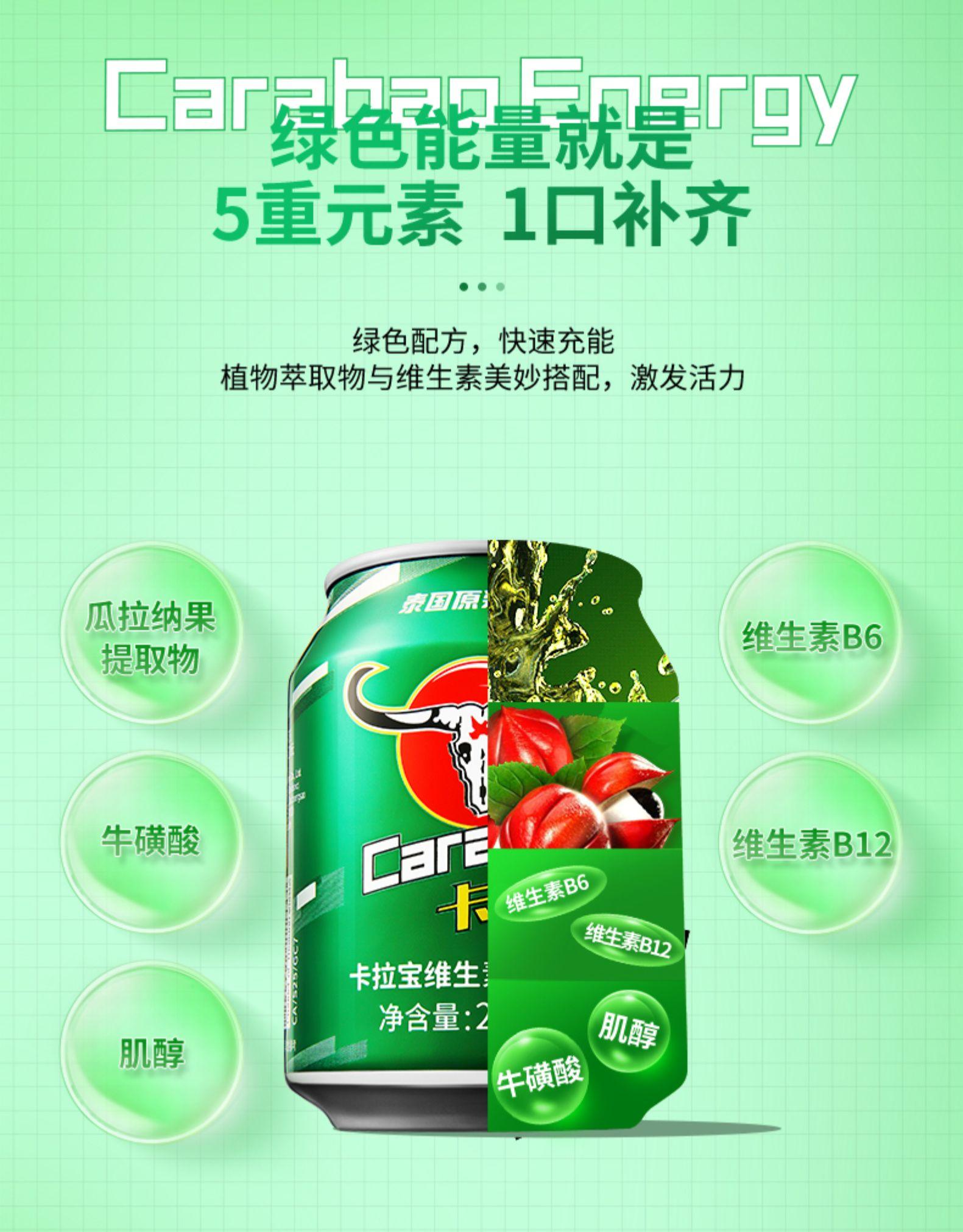 泰国 Carabao卡拉宝 维生素运动功能饮料 250mlx6罐 券后22元包邮 买手党-买手聚集的地方