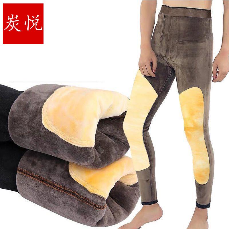 2020男�士加绒棉裤打底裤秋裤高腰护腰护膝毛绒裤保暖加厚内衣裤
