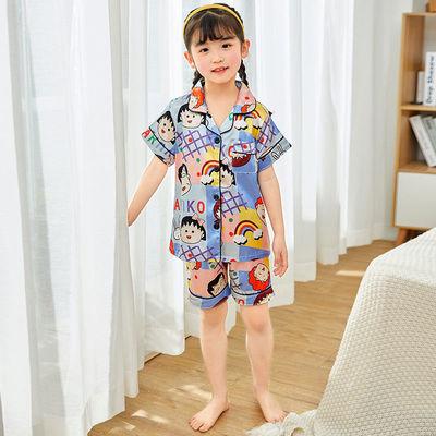 夏季儿童短袖冰丝睡衣男童小女孩宝宝卡通可爱开衫薄款家居服套装