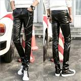 f Winter plus velvet thickening men's leather pants Korean version of slim feet B pants personality stretch tight leather pants men's motorcycle pants