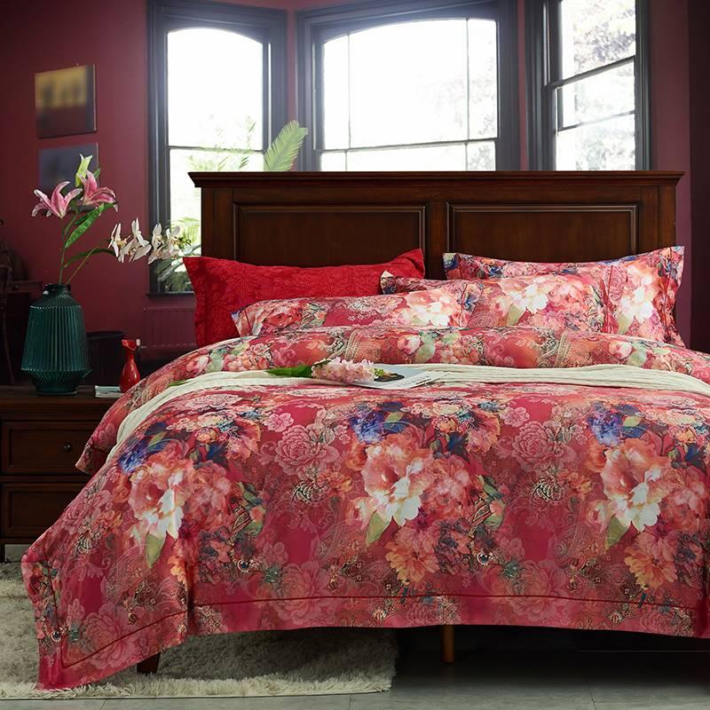 欧饰美贡缎磨毛大提花印花四件套件欧式奢华床上用品婚庆套件品牌