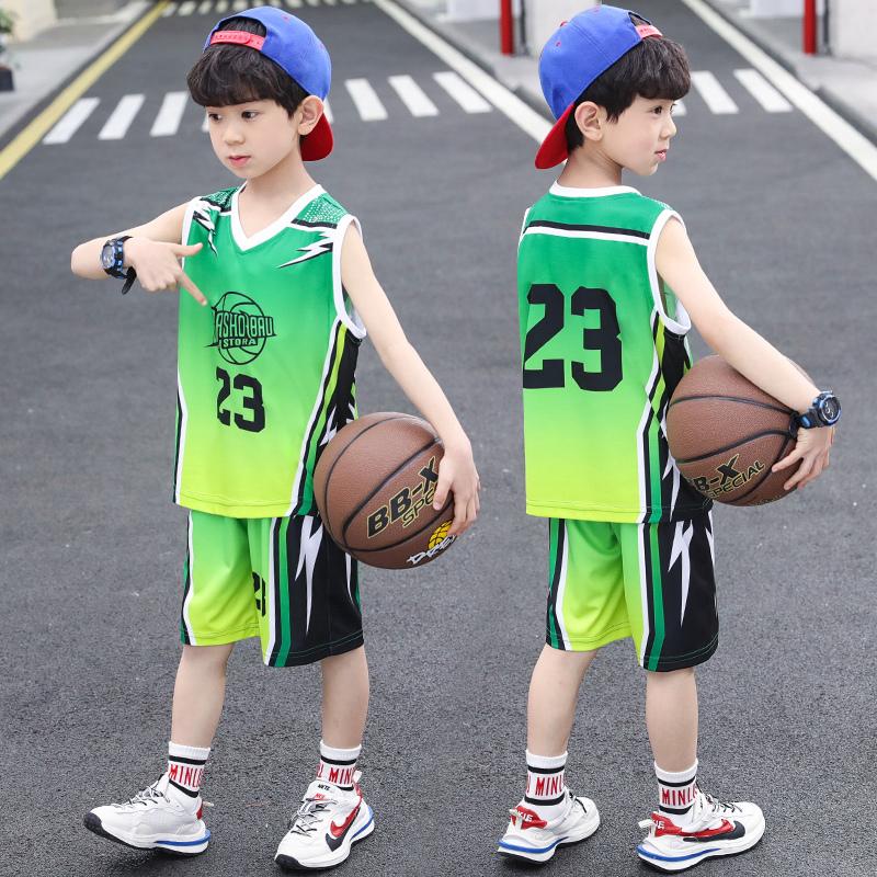 男童时尚套装夏装童装男女童中大童运动球衣宝宝篮球服小学生队服