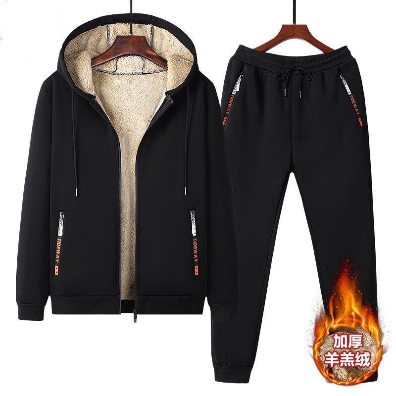 冬季加绒加厚羊羔绒外套休闲运动套装男士潮流衣服裤子大码男套装