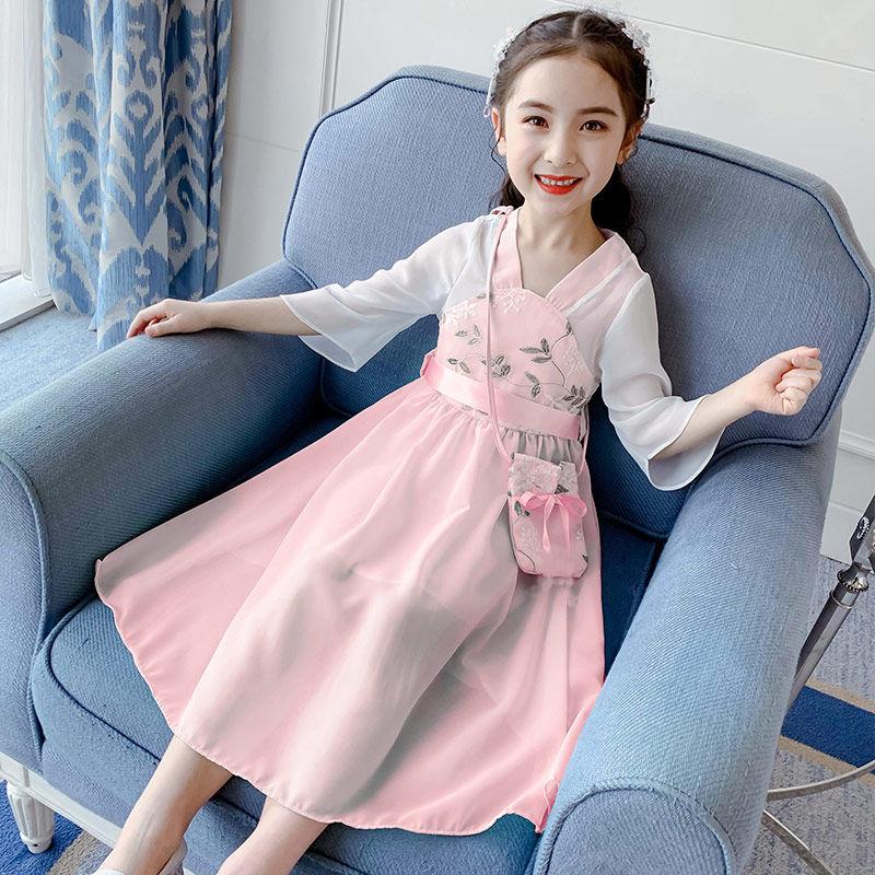 儿童汉服女童连衣裙儿童裙子大童女装中国风童装春夏装裙子12岁