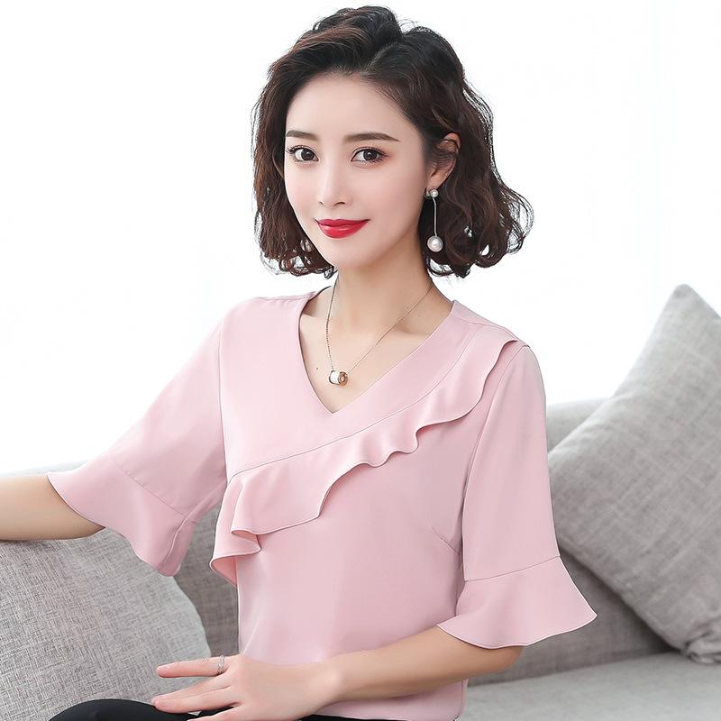 夏季五分袖雪纺衫女韩版荷叶边短袖T恤女装