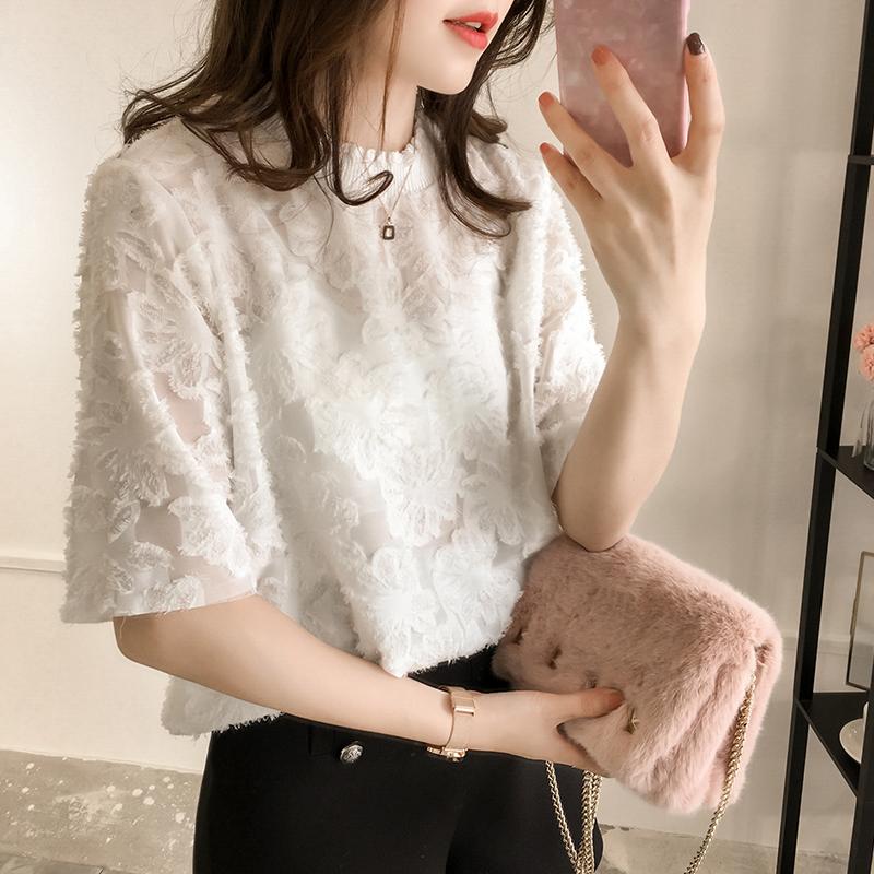 雪纺蕾丝五分袖毛边花朵衫女短袖上衣夏季新款韩版宽松纯色打底衫