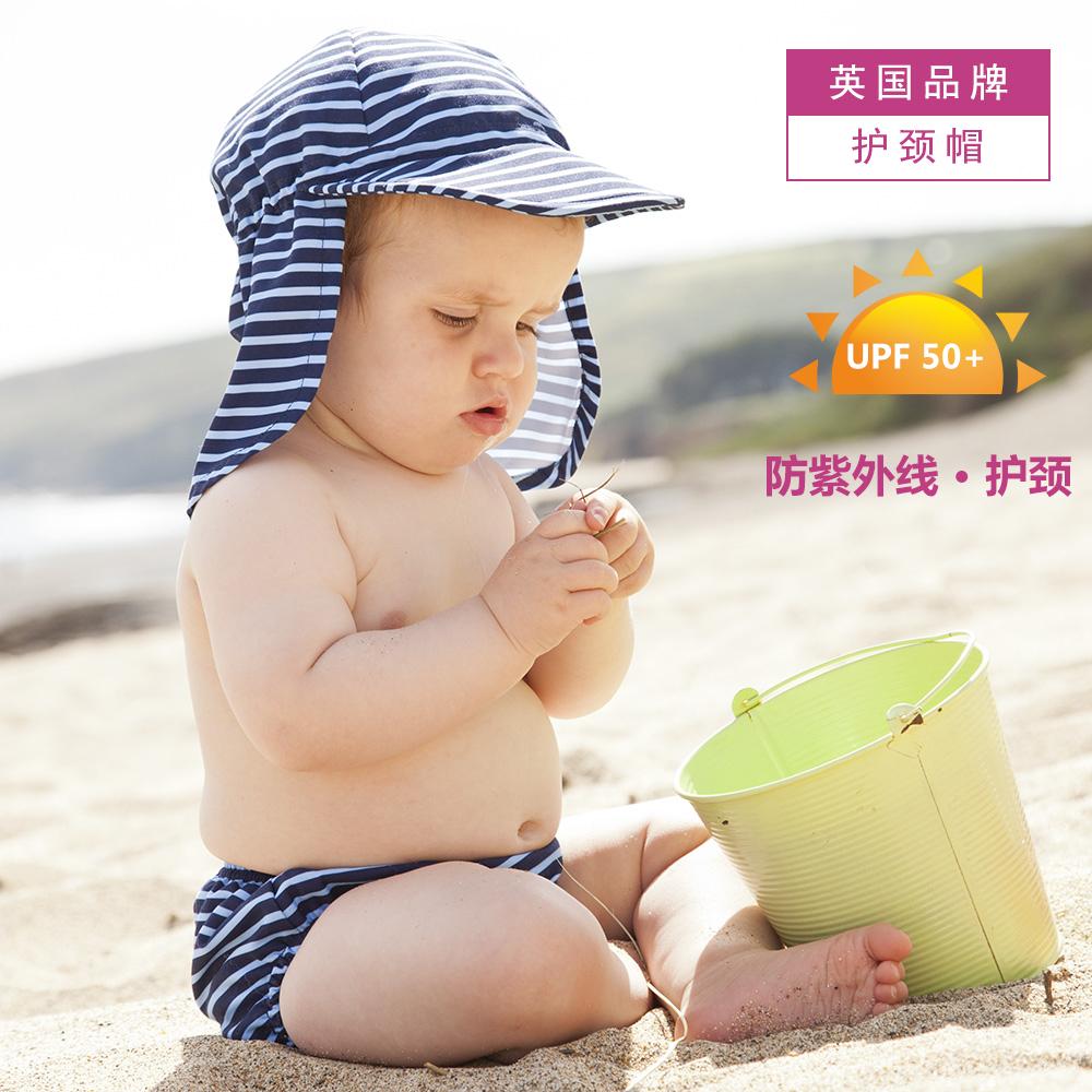 英国大中小儿童防紫外线鸭舌帽男童海边沙滩防晒护颈帽宝宝遮阳帽