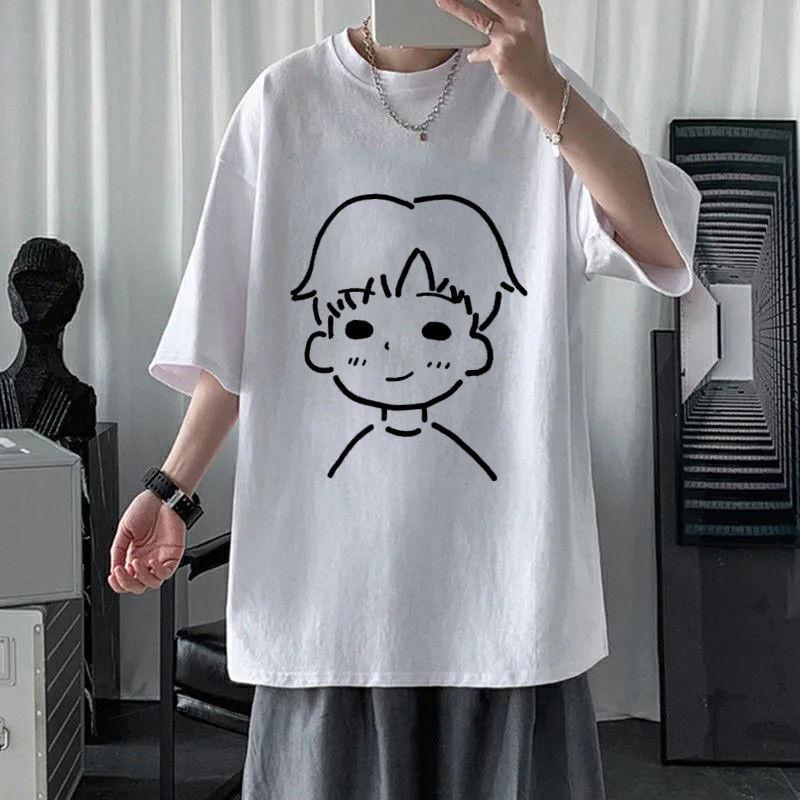夏季男士印花短袖t恤男学生韩版潮流宽松简约圆领半袖上衣服男装