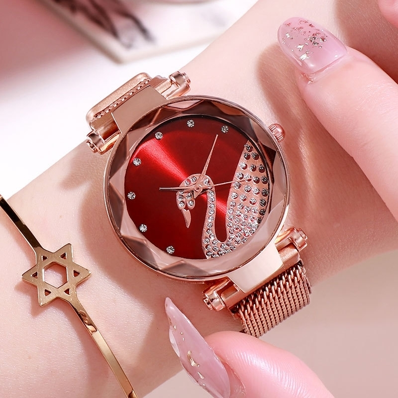 【第二件25】小天鹅手环手表潮流时尚镶钻吸铁石磁性网带石英表
