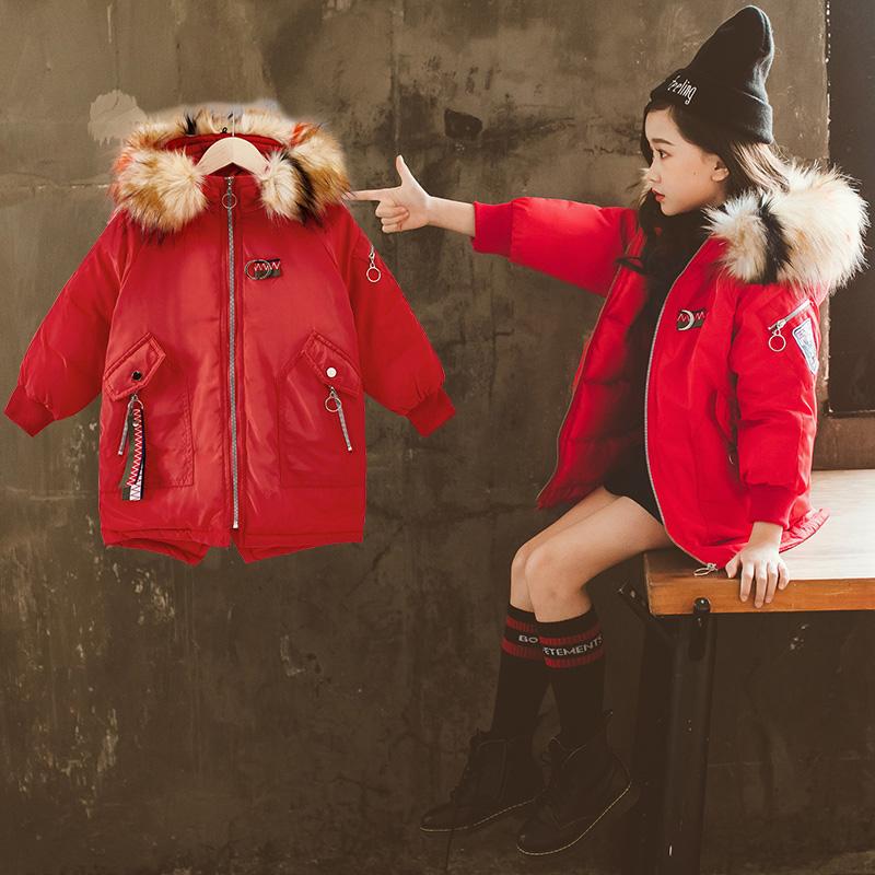 zfaz2020秋冬季新款中长款加厚外套休闲百搭棉袄儿童羽绒棉衣外套
