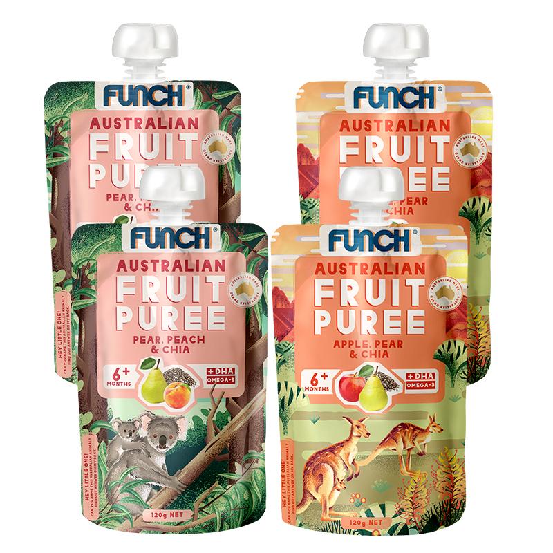 FUNCH宝宝DHA果汁泥梨蜜桃苹果泥奇亚籽omega3婴儿营养辅食泥120g