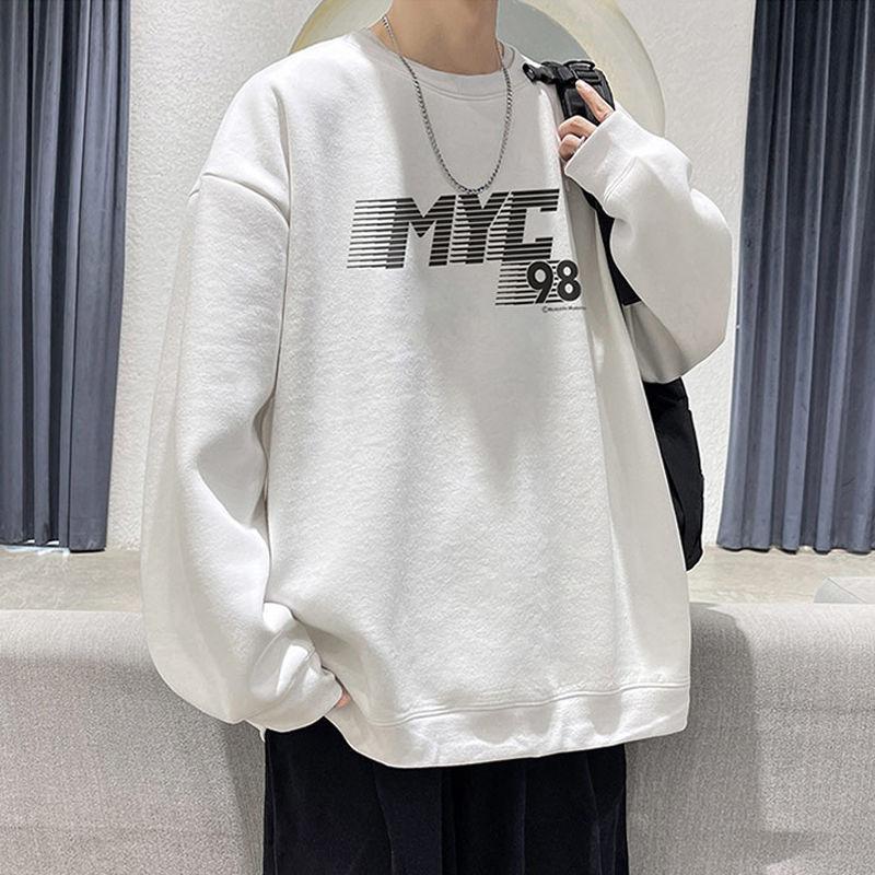 胖子圆领卫衣男港风潮牌学生设计感外套