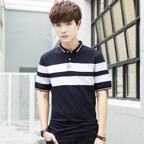 男士2021夏季新款短袖T恤青年休闲衬衣领时尚韩版潮流修身polo衫
