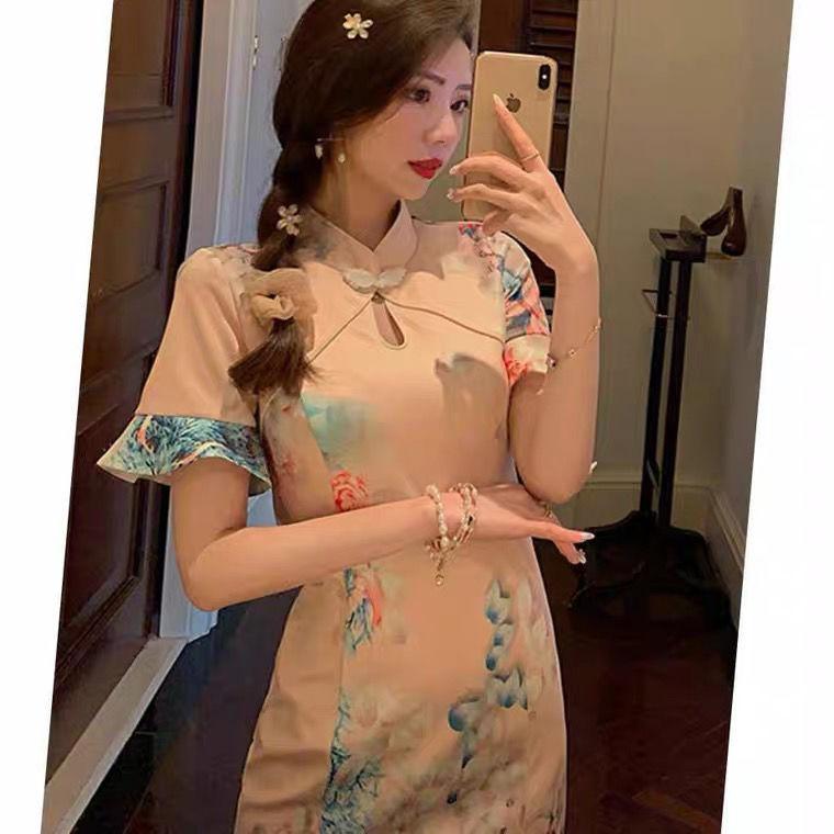 2021年新款现代中长款修身侧开少女旗袍