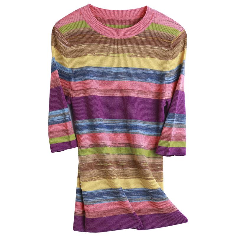 慕言缇时尚百搭彩虹条纹拼色短袖圆领针织上衣T恤女 2021夏季新款