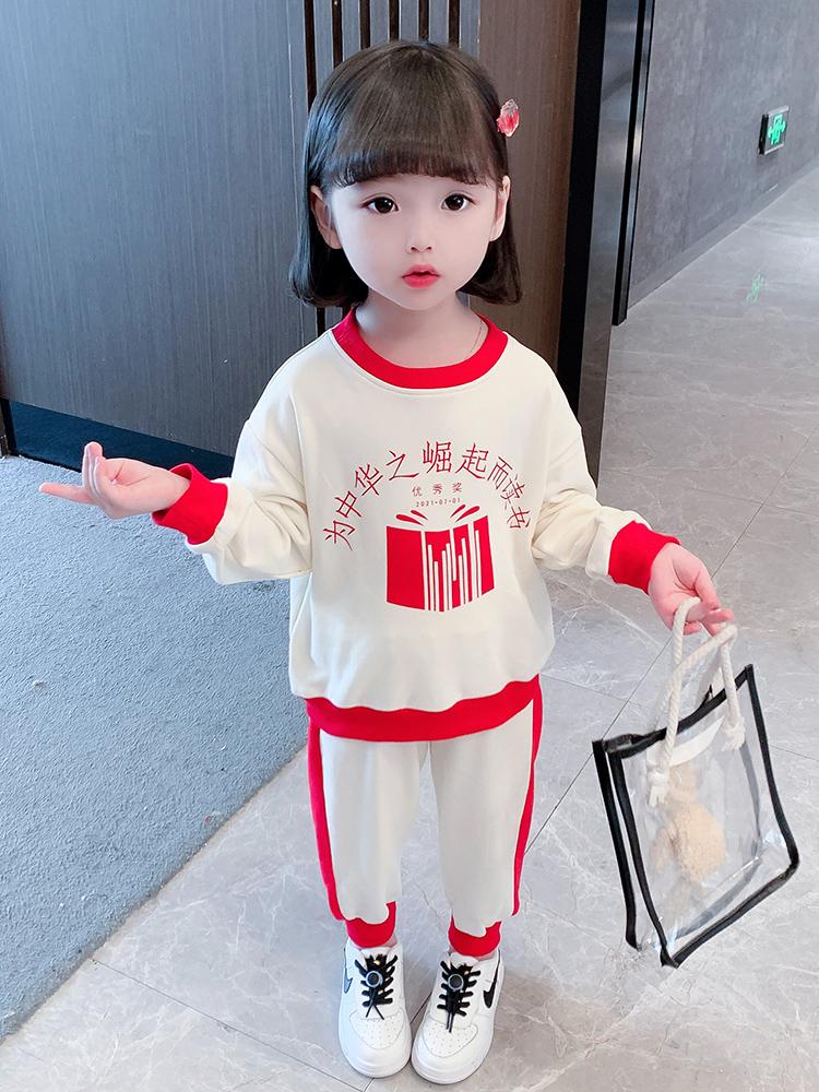 女童秋装运动套装宝宝卫衣两件套