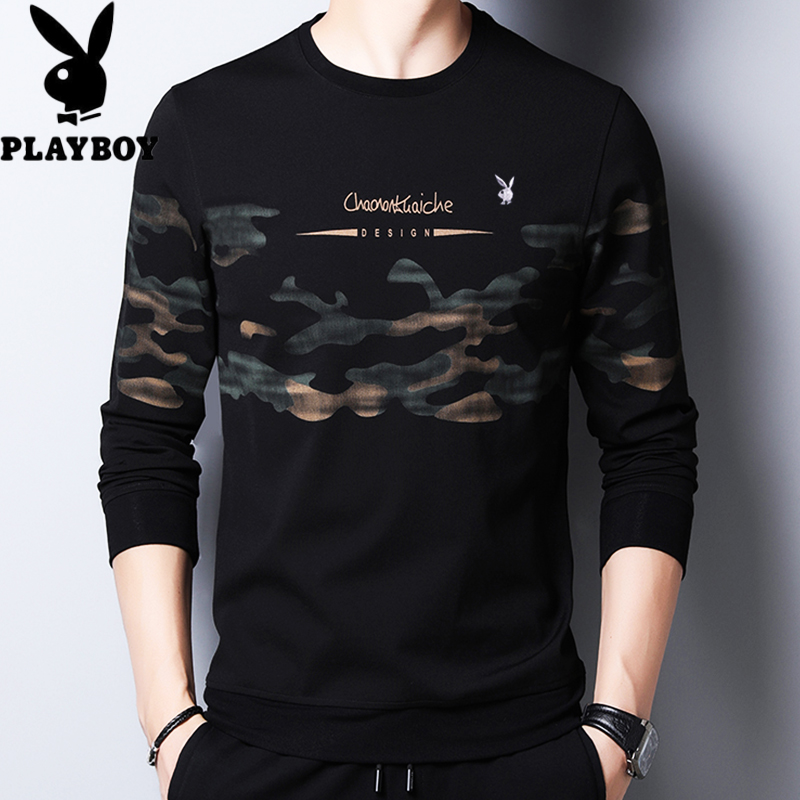 Playboy long-sleeved t-shirt men's round collar autumn middle-aged men's fashion trend casual thin T-shirt men's top.