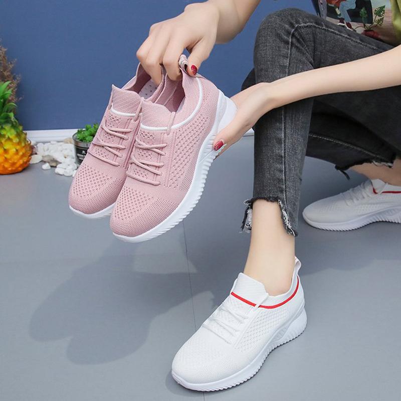 娇蓓登2021夏季新款飞织女鞋透气百搭休闲单鞋舒适一脚蹬女袜子鞋