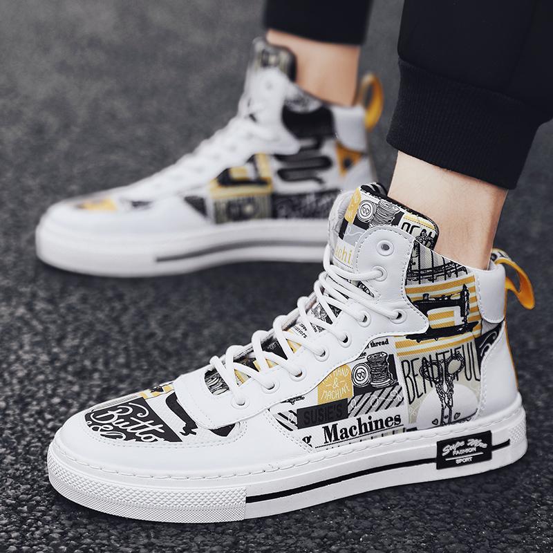 高帮板鞋潮流休闲鞋青少年潮范秋季新款2021百搭男士秋冬季帆布鞋