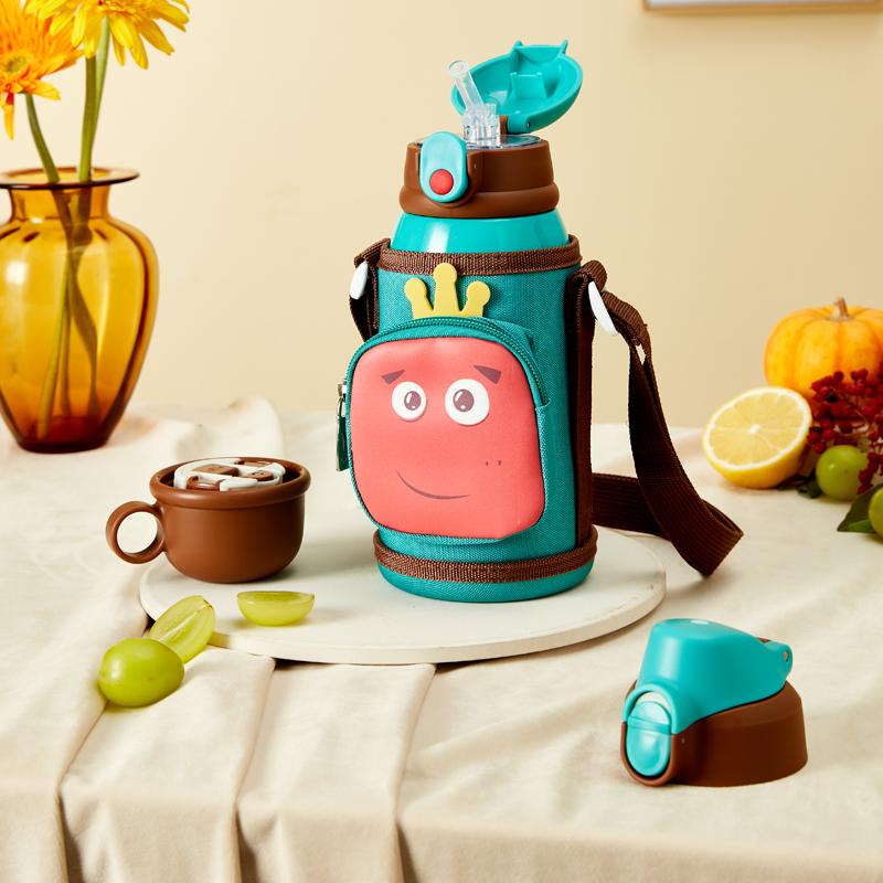 wislibe/WB儿童保温杯带吸管316食品级幼儿园便携水壶女宝宝水杯