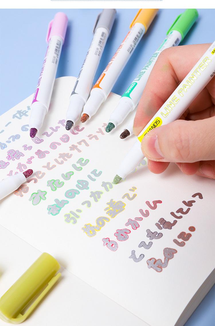 中國代購 中國批發-ibuy99 双线轮廓笔善知少女系糖果色记号笔荧光手账笔套装彩色标记马克笔