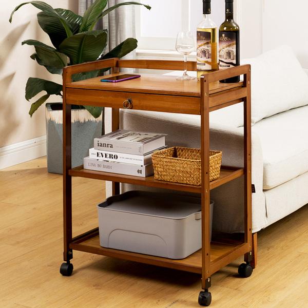 简易餐边柜茶水柜置物架可移动客厅边柜收纳柜子储物柜实木茶台桌