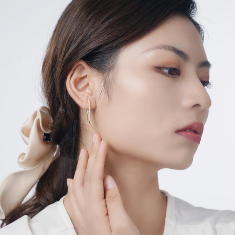 简梵洛耳钉耳环女小众设计黄色简约时尚日韩个性高级气质锆石耳饰