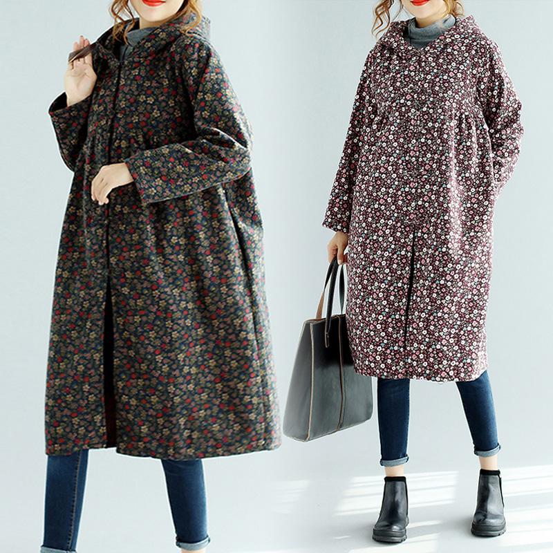 冬装新款民族风女装棉麻文艺碎花中长款加绒加厚长袖连帽棉服外套