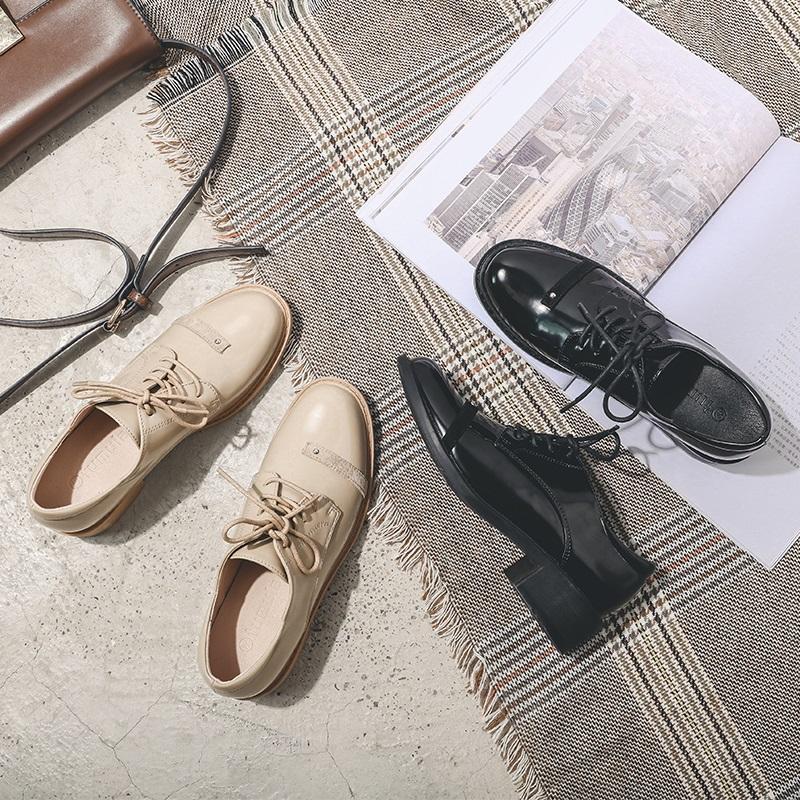 漆皮圆头小黑色女女鞋粗跟皮鞋单鞋英伦风系带秋季中跟复古牛津鞋
