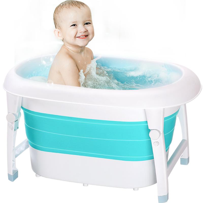Bibilove婴儿童洗澡盆游泳桶可坐躺折叠浴盆婴儿用品宝宝泡澡家用_天猫超市优惠券