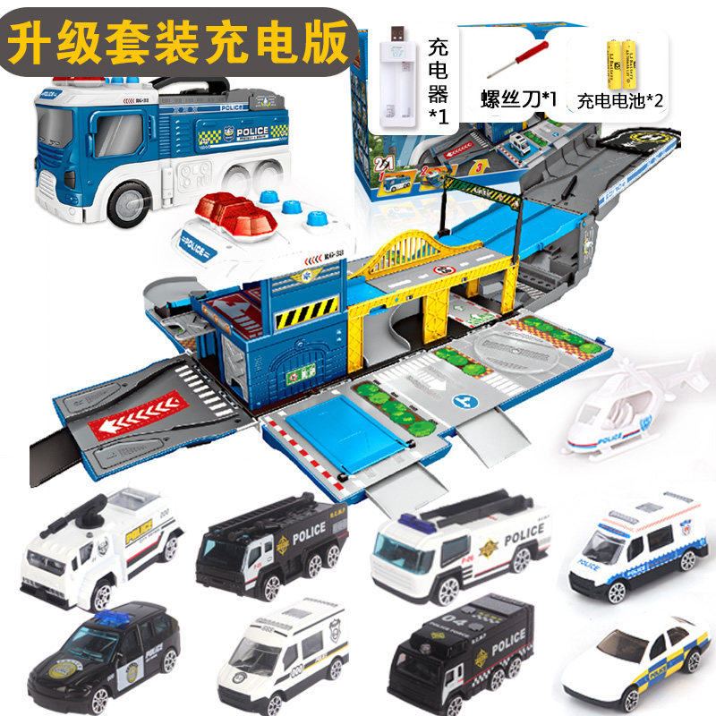 DEFORMATION SCENE POLICE CAR | WITH 8 CAR +1 AIRCRAFT | CHARGING VERSION