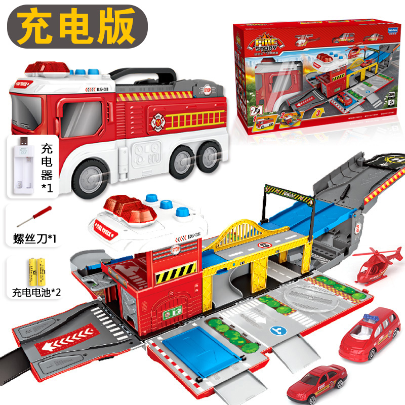 Deformation Scene Fire Truck | With 2 Car +1 Aircraft | Charging Version