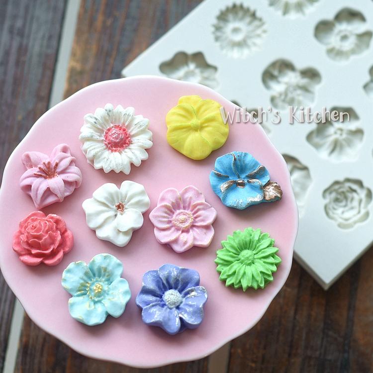 DIY Silicone Fondant Sôcôla Handmade Xà phòng Đất sét Mùi hương Khuôn hoa dễ thương