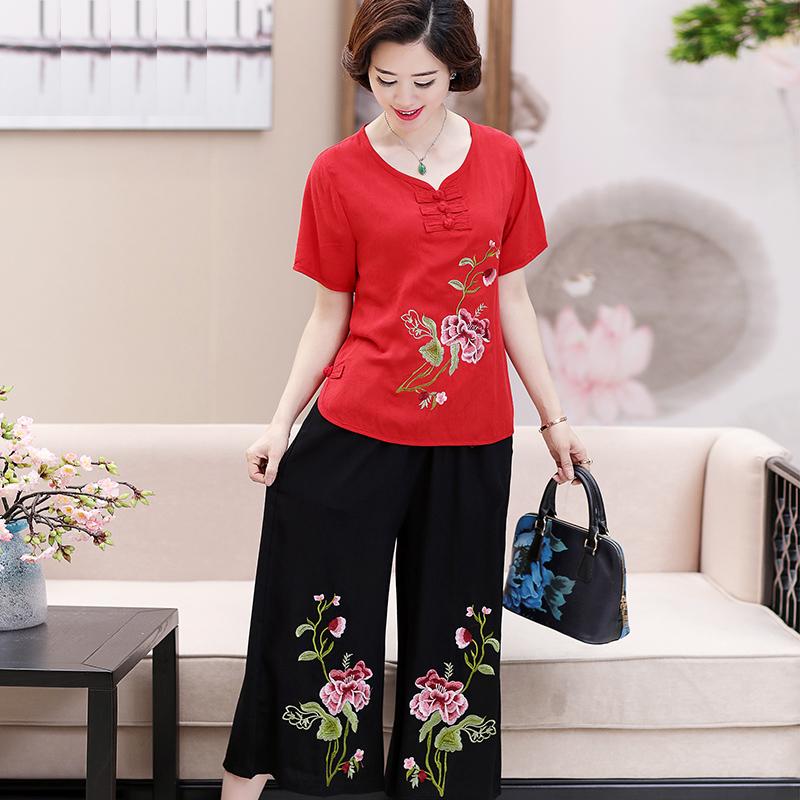 40-50岁中老年女装两件套装大码妈妈装夏棉麻刺绣上衣阔腿裤套装