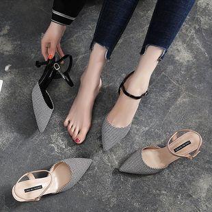 高跟鞋女细跟凉鞋女2020春夏新款包头单鞋性感尖头中空一字扣14