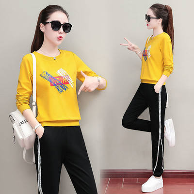 Winter new sports suit female large size loose women's clothing long sleeve trousers casual running sweater two-piece set