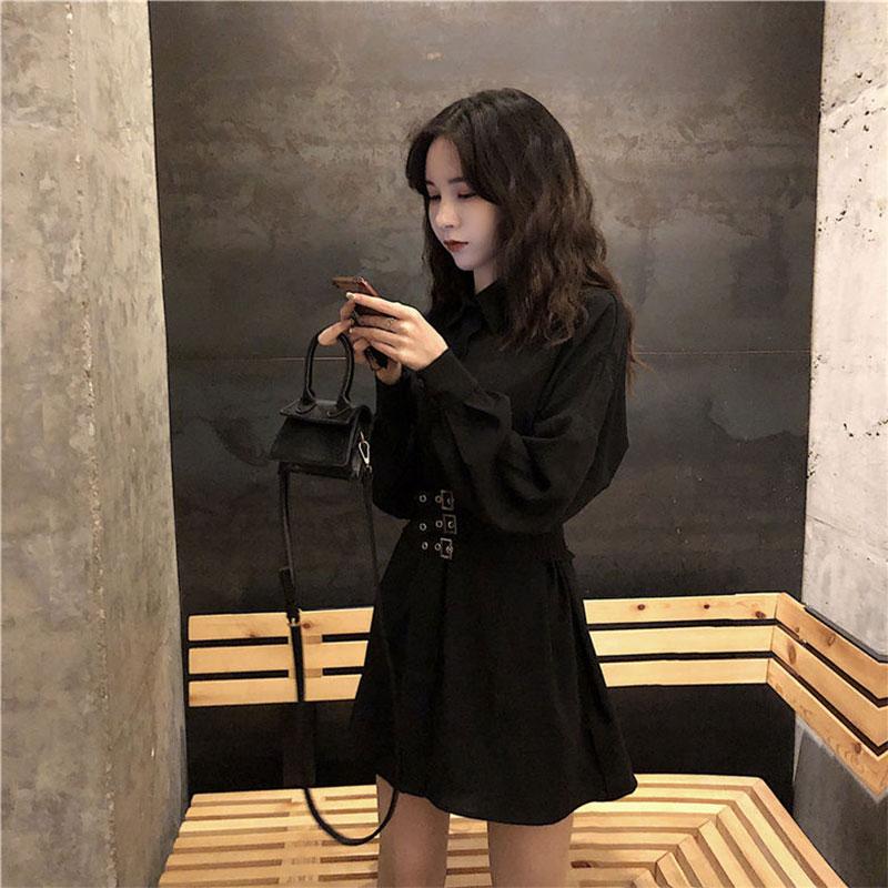 新款性感中长款黑色衬衫连衣裙女装