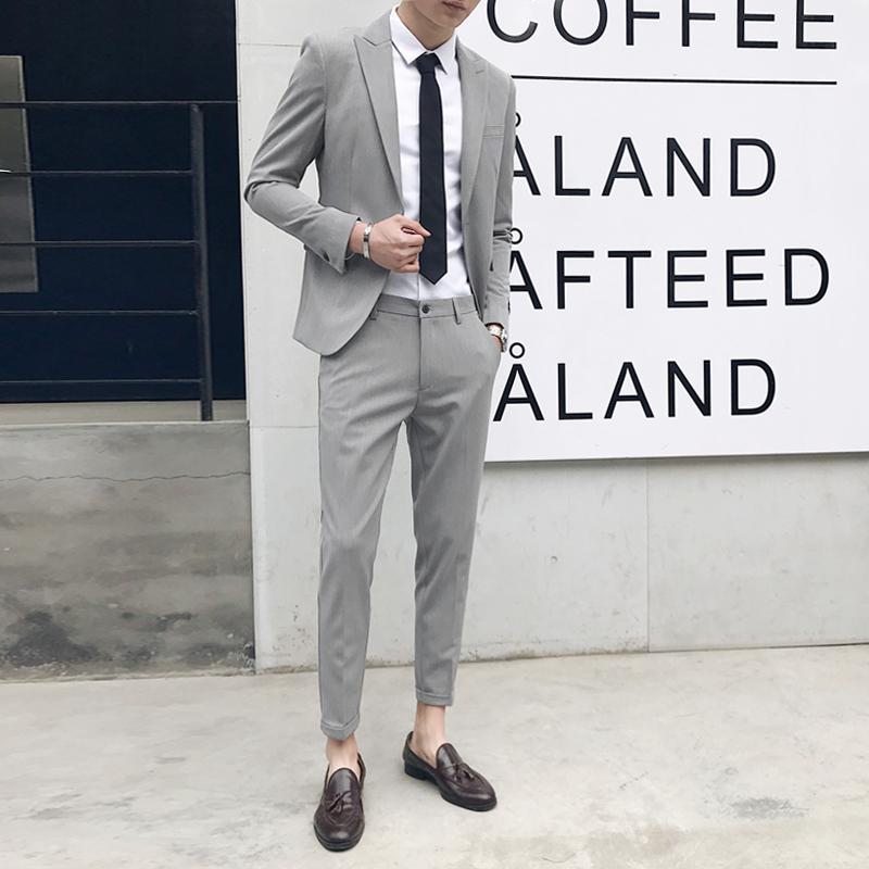 西服男韩式修身免烫英伦风小西装九分裤套装男商务职业青年正装潮