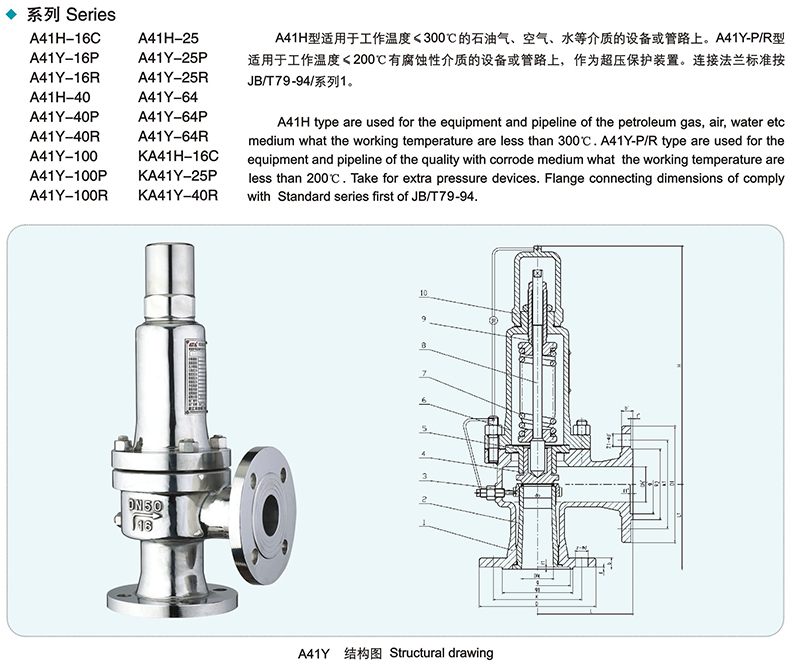 A41H A41Y Flanged type Spring loaded safety valve